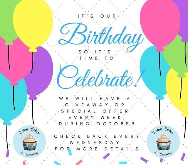 Have you seen our birthday weekly giveaways over on Facebook!? If not, hurry on over as there is still one more giveaway starting tomorrow!  www.facebook.com/eatoncakescatering  #eatoncakes #cupcakes #cookies #handmade #birthday #weddings #celebrate #cake #macarthurnsw #lovelocal