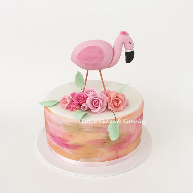 Handmade flamingo and roses sat beautifully on top of Jessica's watercolour cake for her 10th birthday celebration  I love creating the mix of pink and creams with a finish of gold  #eatoncakes #cupcakes #cookies #fondantflowers #handmade #prettyinpink #flamingoparty #watercolourpainting #flamingo #cake #macarthurnsw #lovelocal