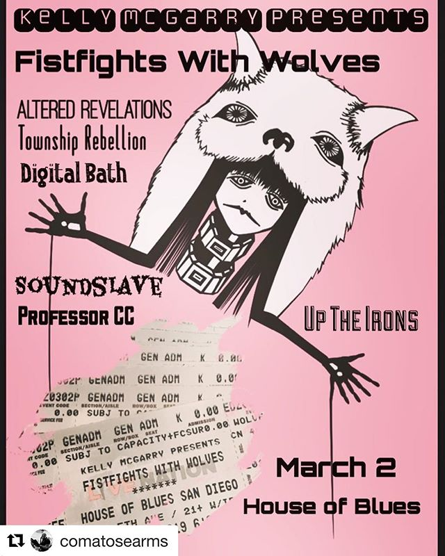 #Repost @comatosearms with @get_repost ・・・ @kelly_mcgarry_presents @fistfightswithwolves show March 2nd at @hobsandiego !! We've got some free tickets as well, so message me if you want a couple before here gone! Art by @jonathaniusputnamius : : : @uptheironspage @alteredrevelations @soundslavesandiego @townshiprebellionsd @djprofessorcc  #ffww #fistfightswithwolves #music #liveshows #art #houseofblues #sdmusic #listensd #progrock #mathrock #femalevocalist #coverbands #liveshows