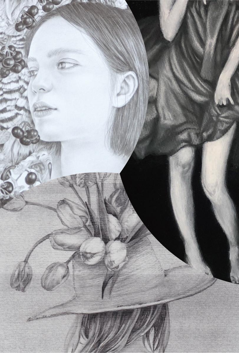 """下:三橋灯 """" tulip hat """" 2019, pencil, drawing pen on paper 297×210mm 右上 : 明神睦美 """" blanc """" 2019, acrylic, charcoal pencil on watercolor paper 297×210mm 左上:吉澤知美 """"Premotion """" 2019, pencil on paper 180×160mm (部分)"""