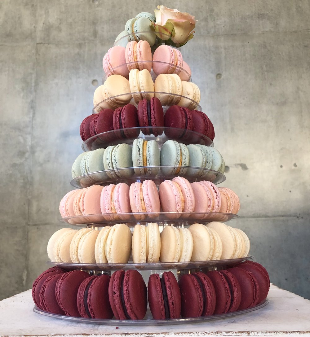 130 Macaron Wedding Tower with single rose
