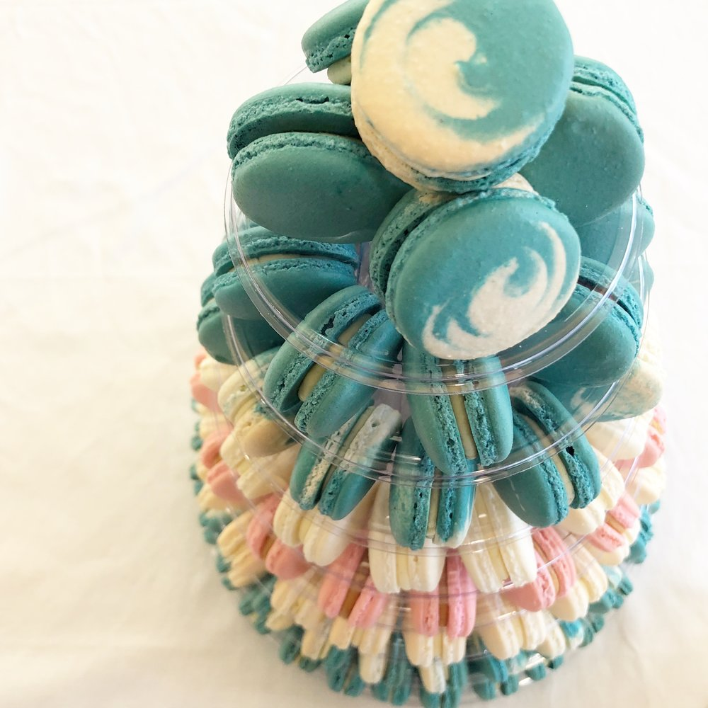 130 Macaron Grand Opening Tower with custom colour swirl