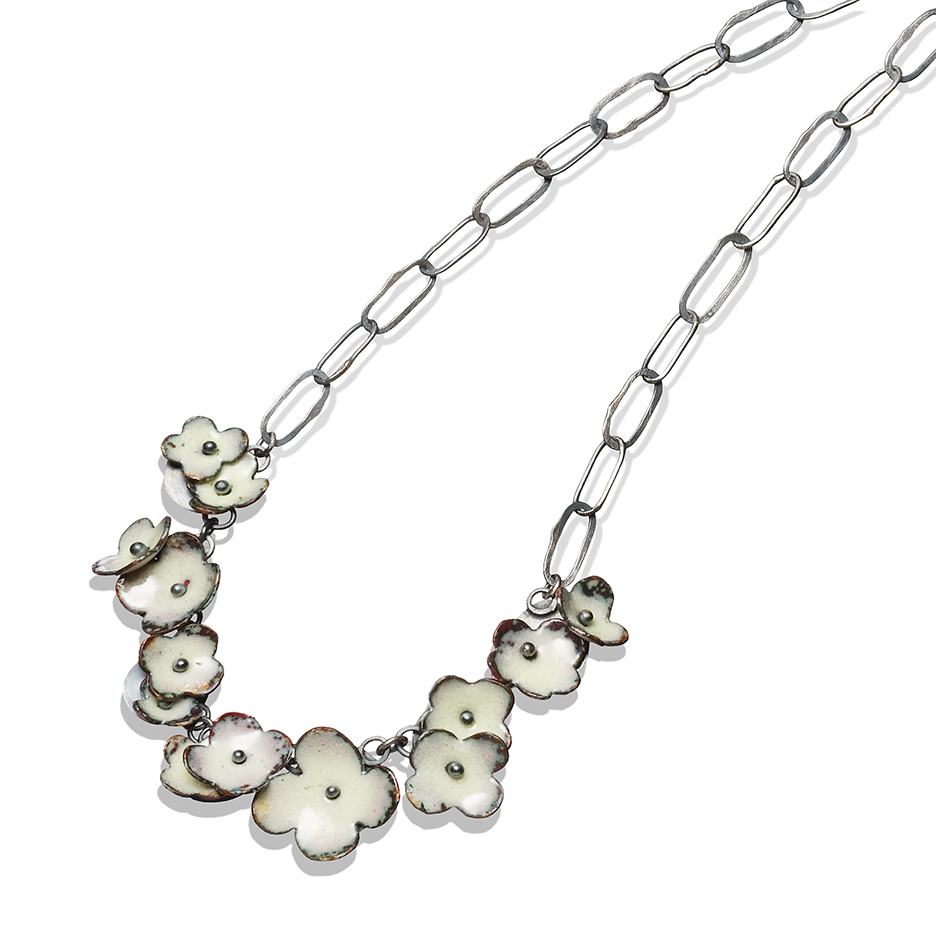 big Floral Garland Necklace in white