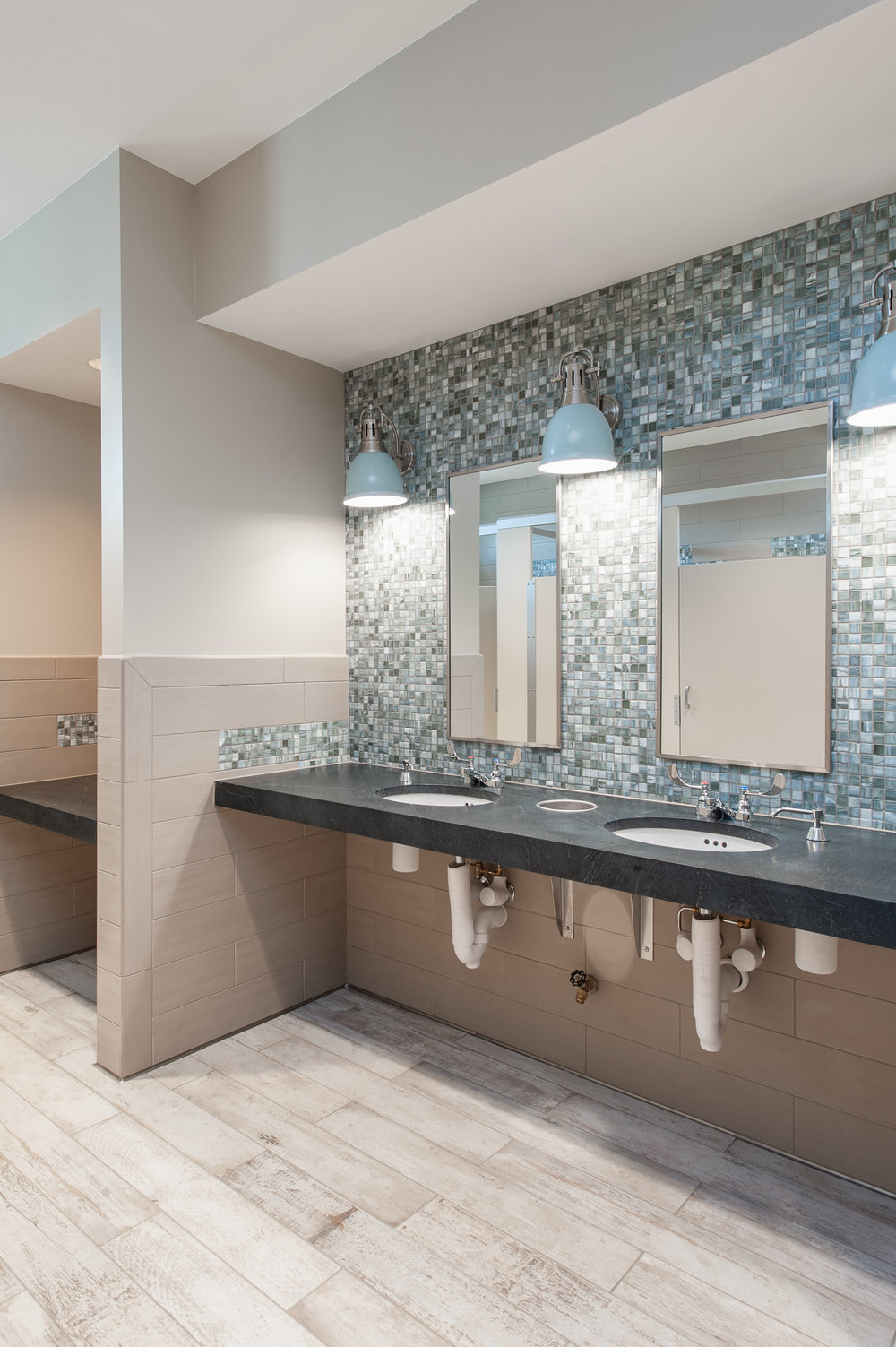 Micamy Design Studio_Interior Design_Beacon Lake_Amenity Center_Clubhouse_New England Style_Nautical_Glass_Mosaic_Tile_Sconce Restroom_Soapstone_Lantern_Wallpaper_Blue_.jpg