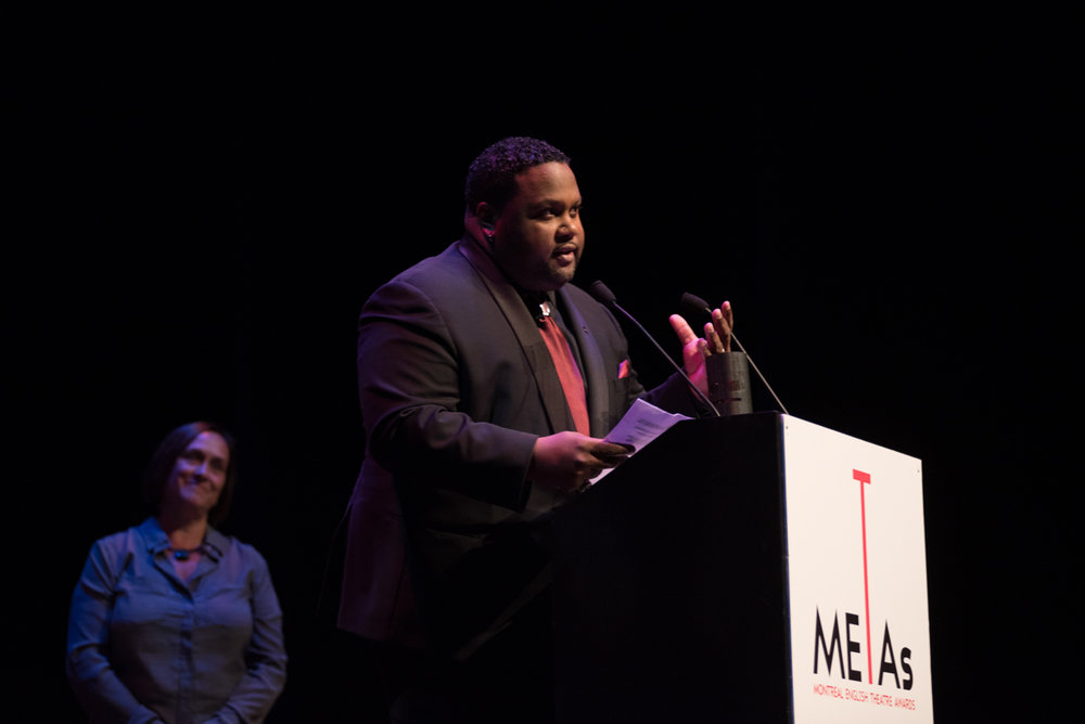 Tristan gives his acceptance speech at the 2018 METAs