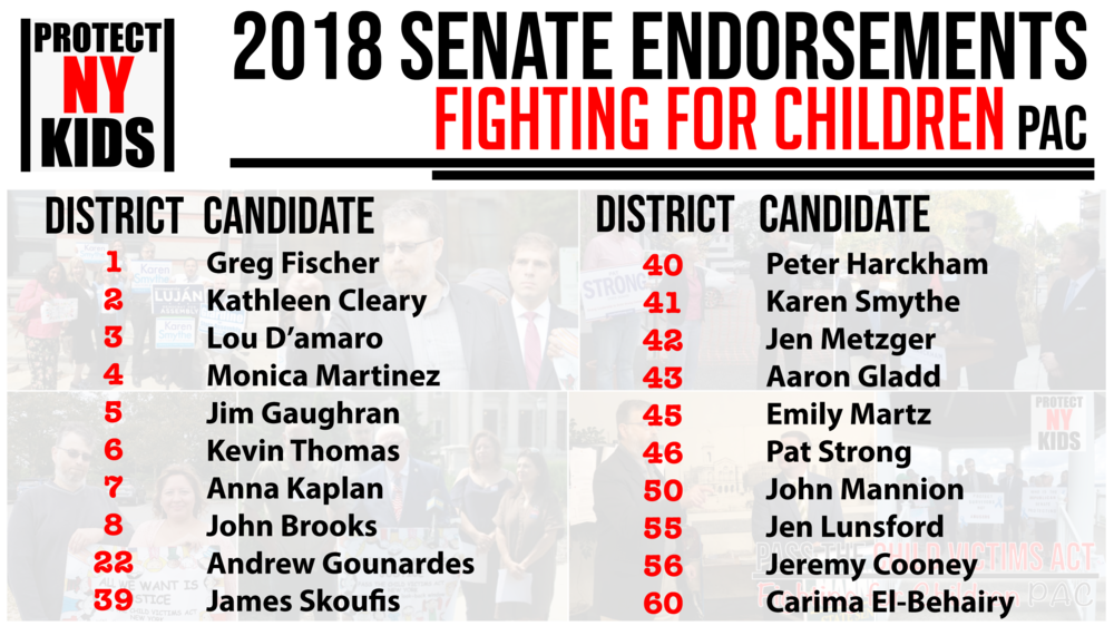 Thank you - Thank you to our endorsed candidates for making a promise to Fight for NY's Children in the State Legislature.
