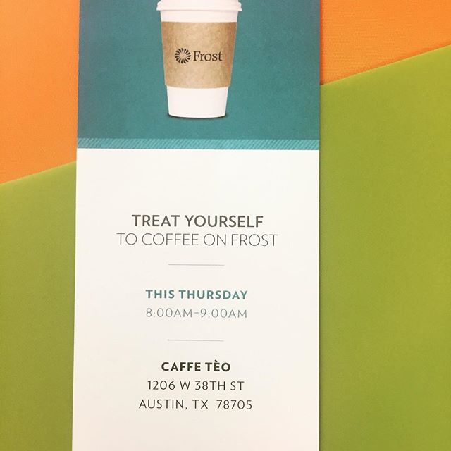 Tomorrow you can grab a free coffee @caffe_teo courtesy of @frostbank! Stay a while and grab a chair massage too? 💁🏻♀️ #caffeine #coffee #massage #chairmassage #butfirstcoffee #austin