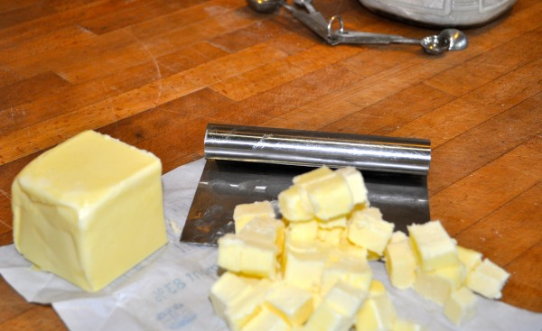 Cutting the butter.