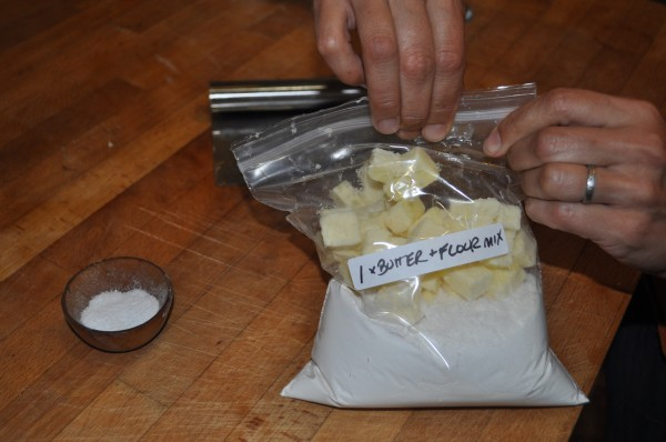 Storing butter and dry ingredients together.