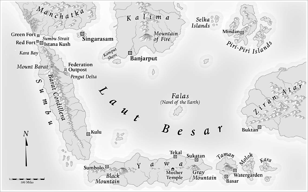 Map of the Laut Besar - Read more about the Indonesian-inspired setting of GATES OF STONE here.