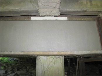 Figure 4: CeramycShield™ applied over repair mortar and structural concrete of Pier Cap (photo taken just after application)