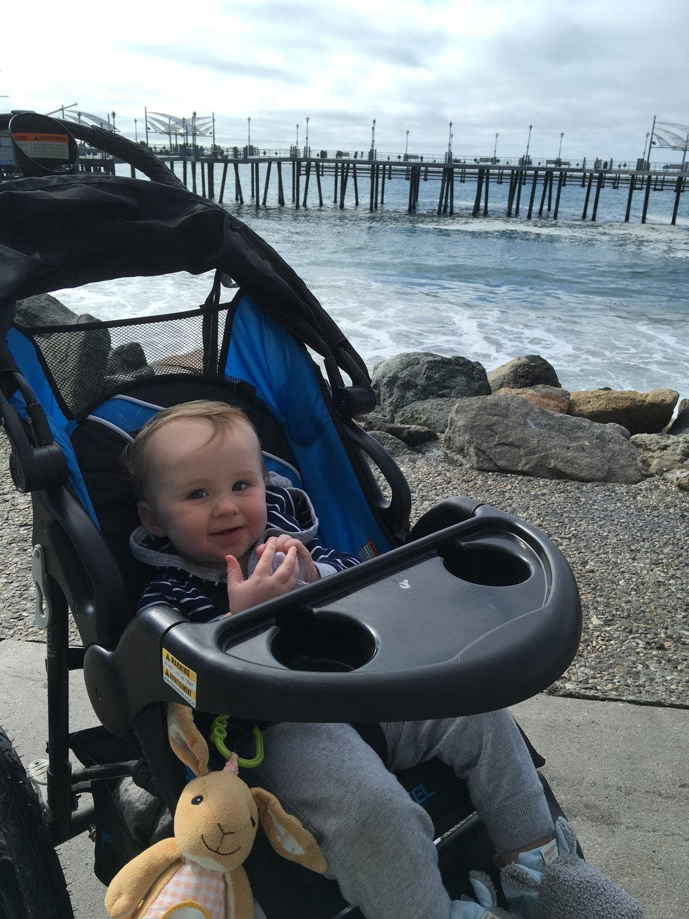 Will and I hit the running path for one of my easy runs this week. He loved waving at everyone and even felt some of the mist from the big waves - he thought that was pretty funny.