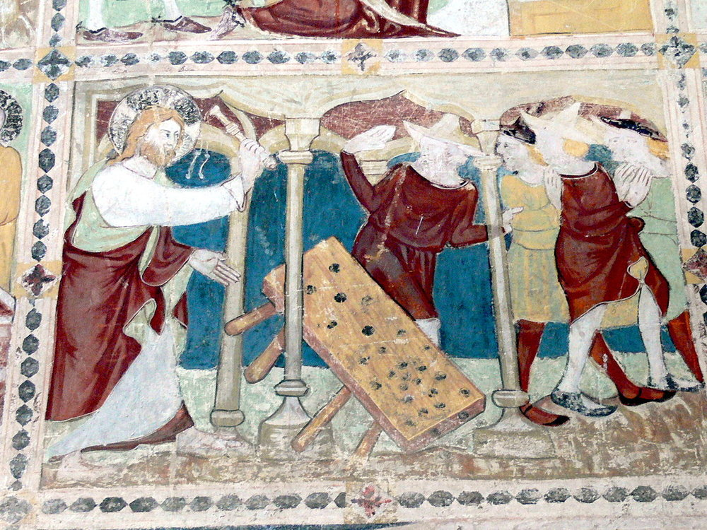 Gurk Cathedral - outer entrance hall: Fresco (1340) showing Christ expelling the money changers out of the temple in Jerusalem