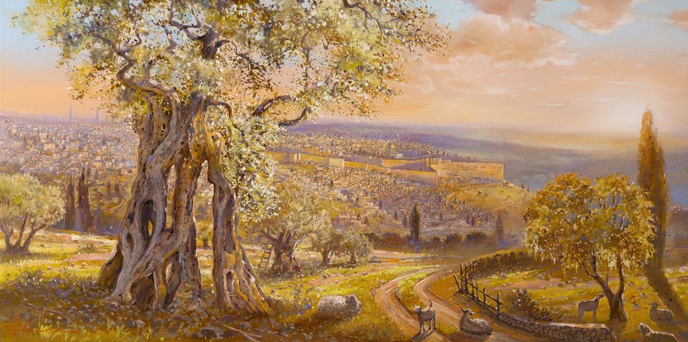 Old Jerusalem Behind the Olive Tree by Alex Levin