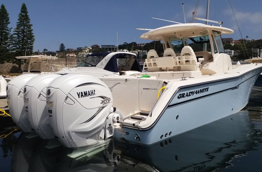 Grady-White Canyon 376 at Short Marine fitted with triple Yamaha V8 425 XTO engines.