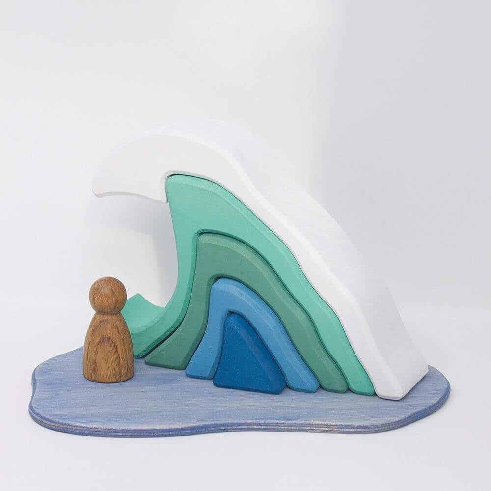 The Wave   Go sailing for the day or watch dolphins skip across the waves. How many ways can you play?  Lime wood Play Scene cut from a single block of FSC kiln dried lime wood. Stained with water based, non-toxic colour and with a slightly textured surface.  Approximately 200mm x 150mm x 54mm RRP £33