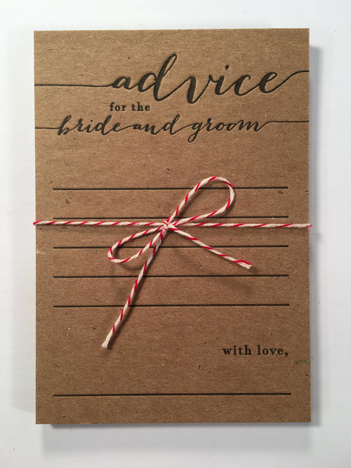 Advice For The Bride And Groom Letterpress Note Card Set Half Pint Ink