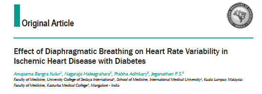 - Effect Of Diaphragmatic Breathing On Heart Rate Variability In Ischemic Heart Disease With Diabetes