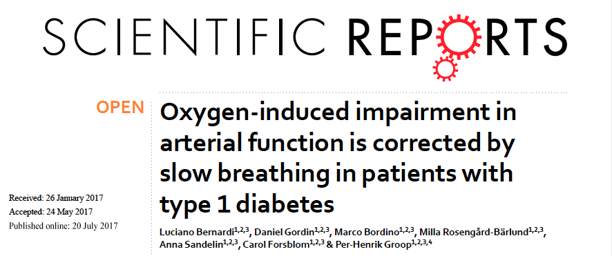 - Oxygen-induced impairment in arterial function is corrected by slow breathing in patients with type 1 diabetes