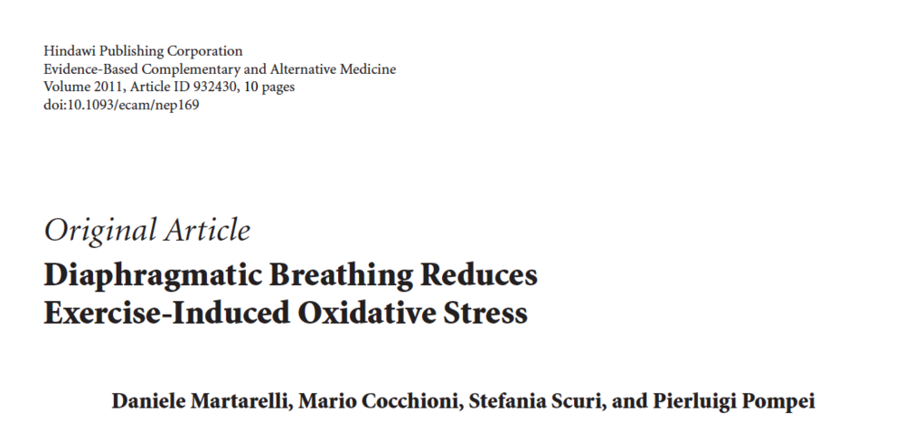 - Diaphragmatic Breathing Reduces Exercise-Induced Oxidative Stress