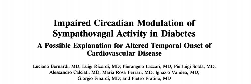 - Impaired circadian modulation of sympathovagal activity in diabetes