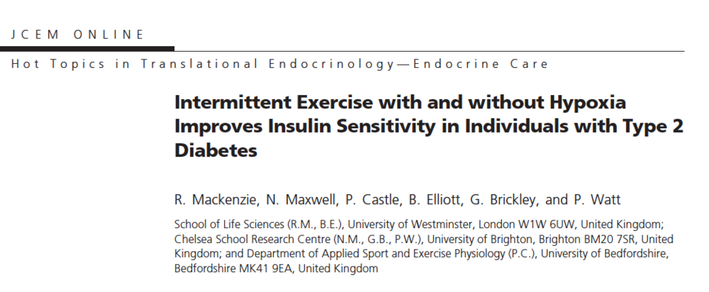 - Hypoxic, intermittent exercise improves insulin sensitivity and beta cell function in type 2 diabetics