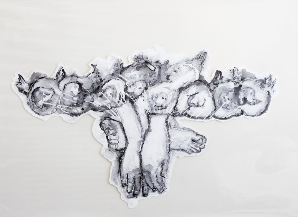 Cherubs, 2016, watercolor and acrylic on transparent mylar, 50x35 inches