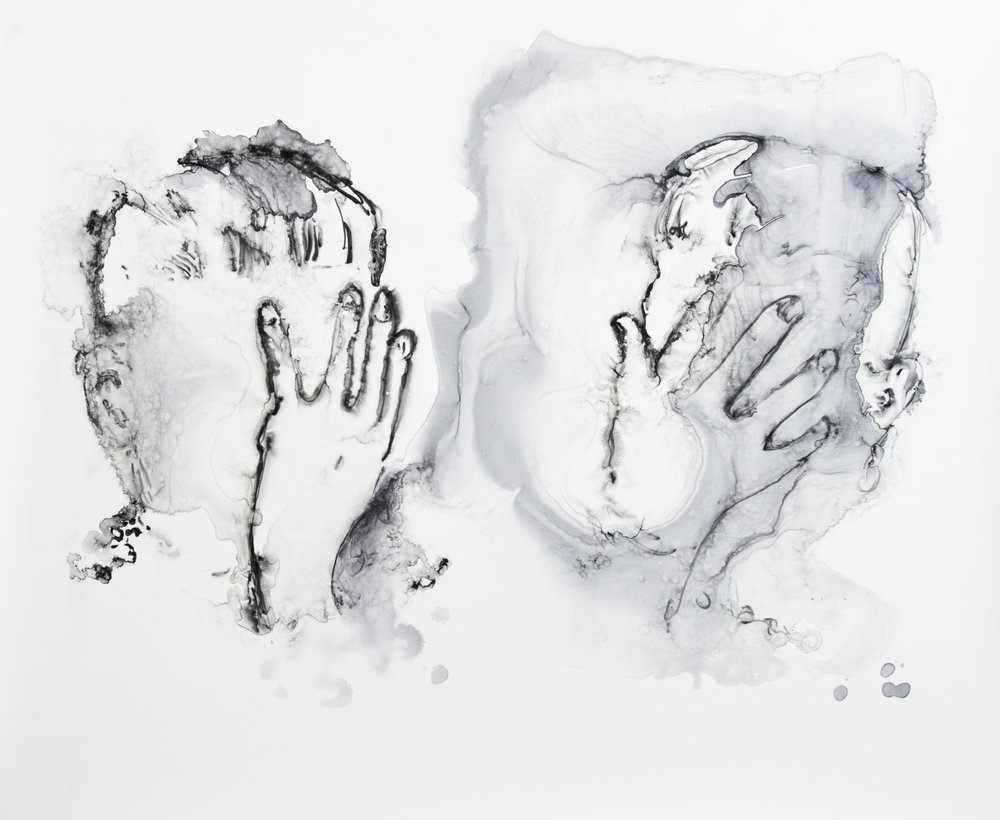 Hand Healing, 2016, watercolor on polypropylene, 24x30 inches