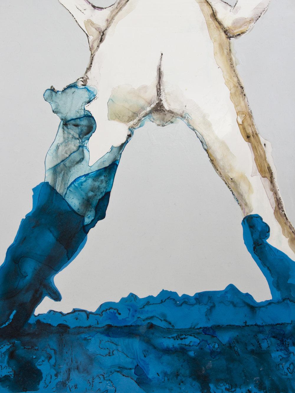 Foam Birth, 2015, watercolor and acrylic on mylar on panel, 18x24