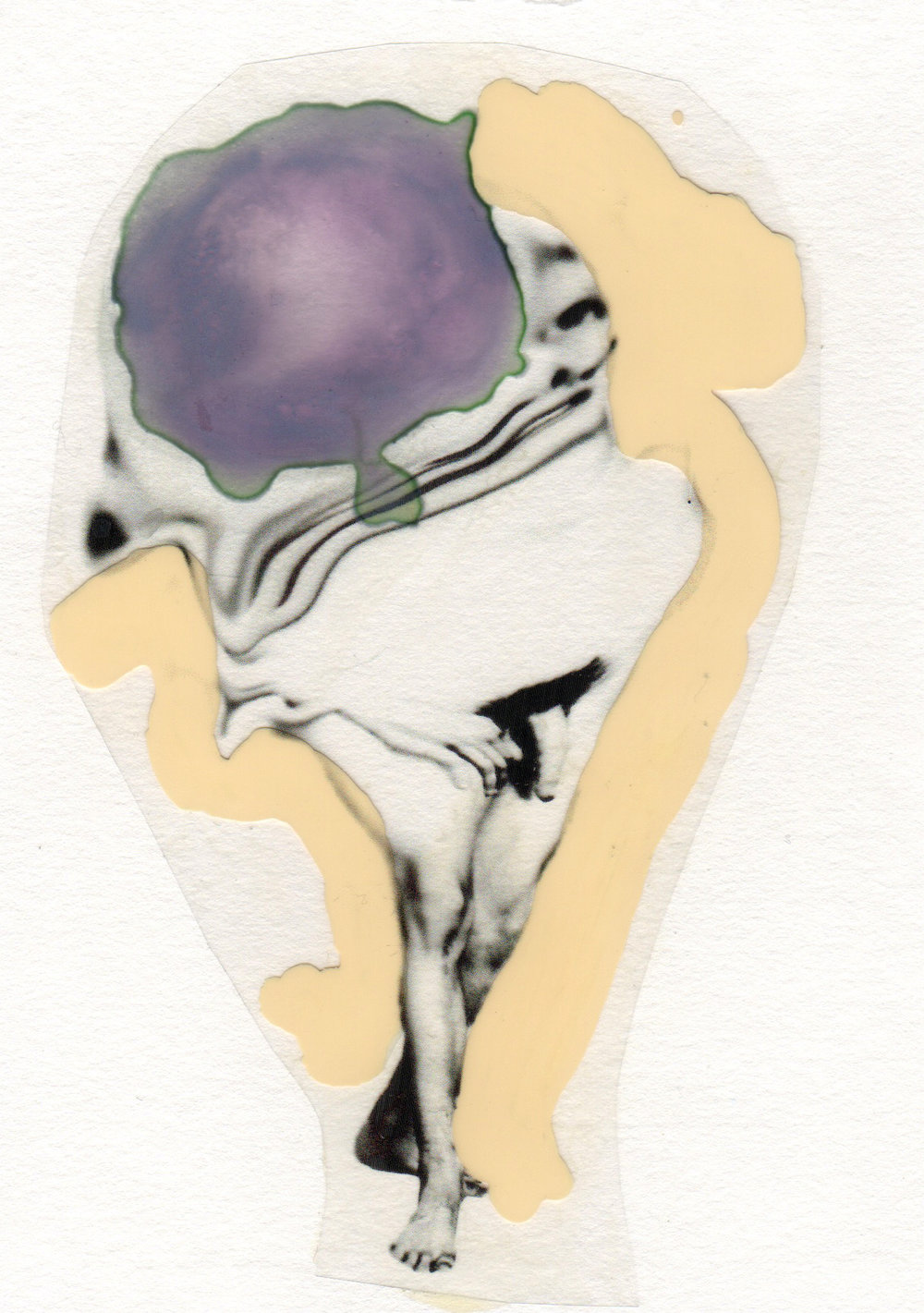 In My Head 2015 acrylic watercolor mylar archival ink and paper 5 x 7