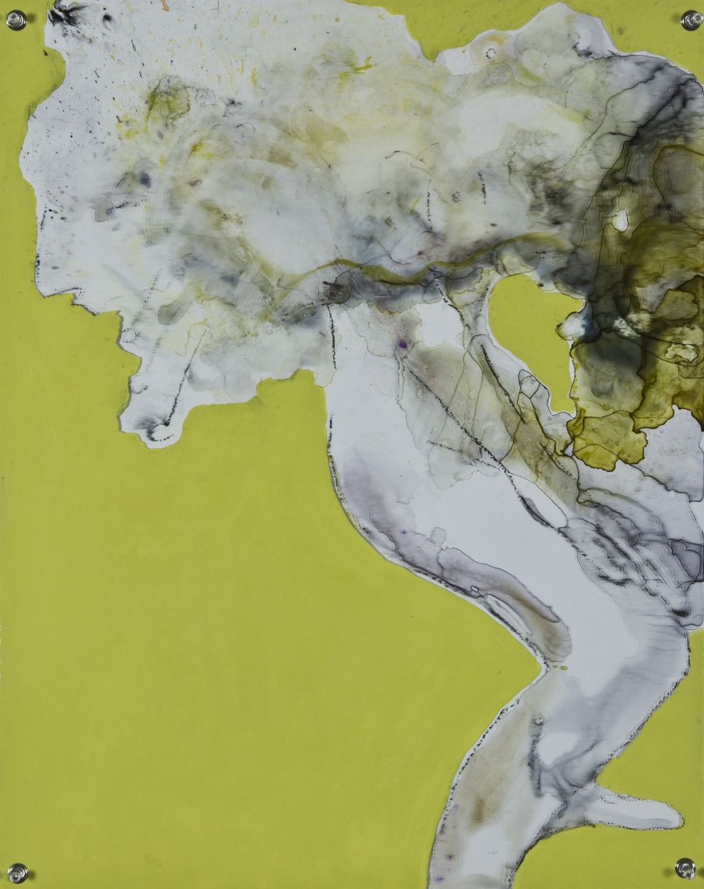 Lemongrass Fog, 2014, watercolor and acrylic on grommeted mylar, 18x24 inches