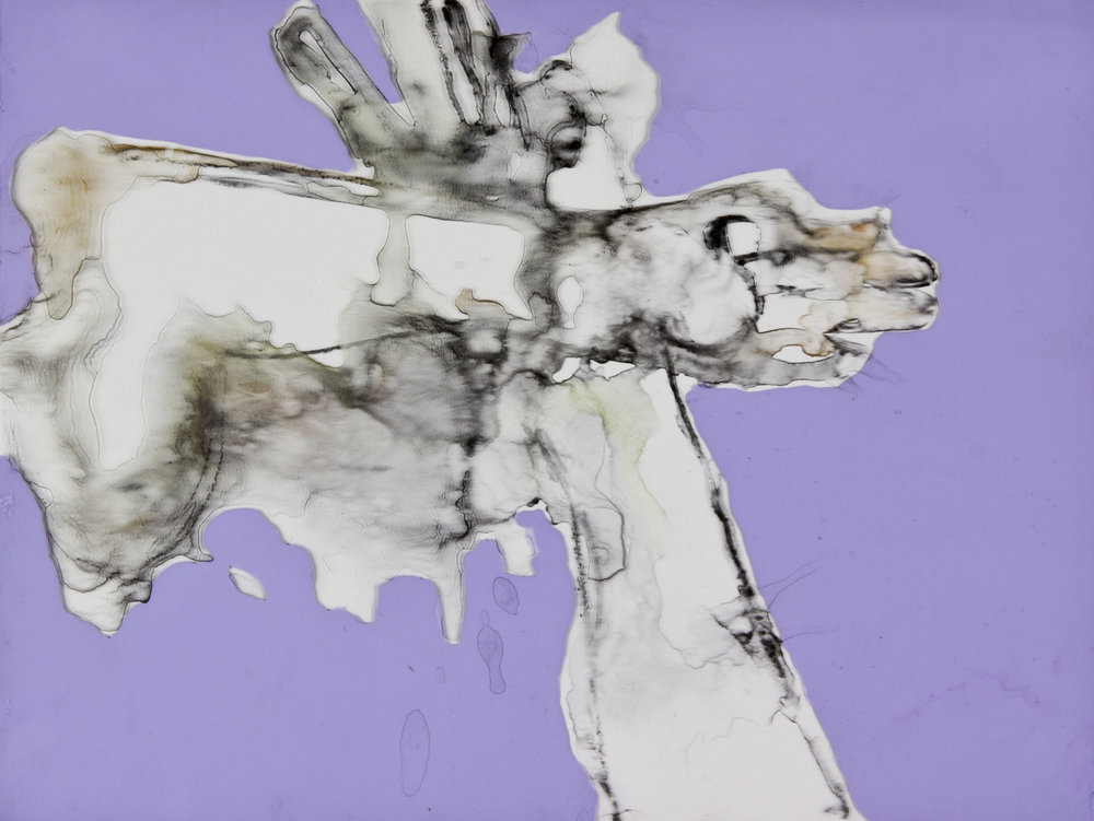 Precautions in Purple, 2014, watercolor and acrylic on mylar on panel, 9x12 inches