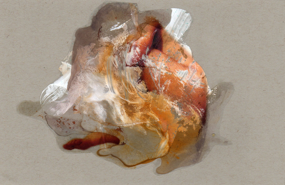 Sandstorm, 2014, paint transparency archival ink and paper, 8.5x5.5 inches