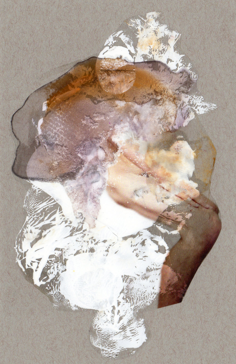 Winter Passing, 2014, paint transparency archival ink and paper, 8.5x5.5 inches