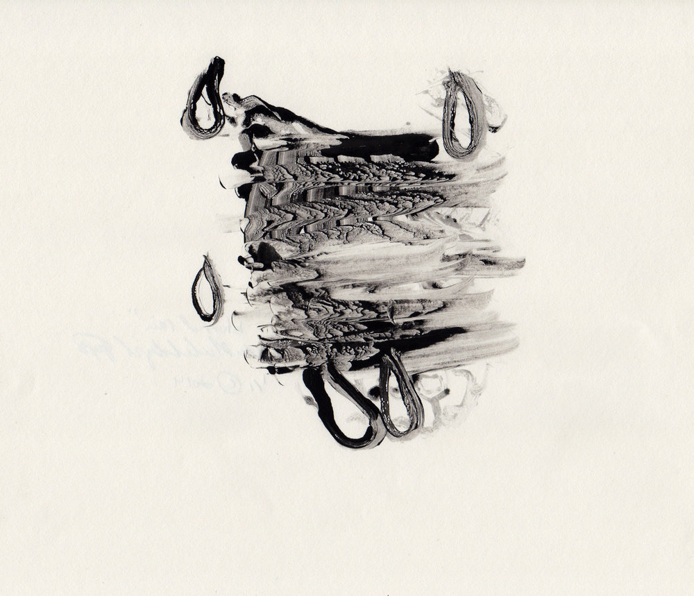 Blurred Rain, 2014, gelatin monotype, 10x9 inches