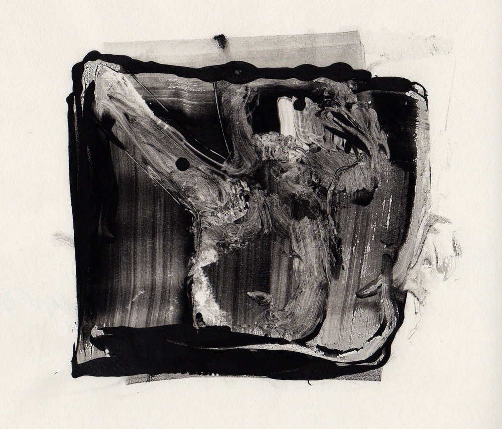Canal, 2014, gelatin monotype, 10x9 inches