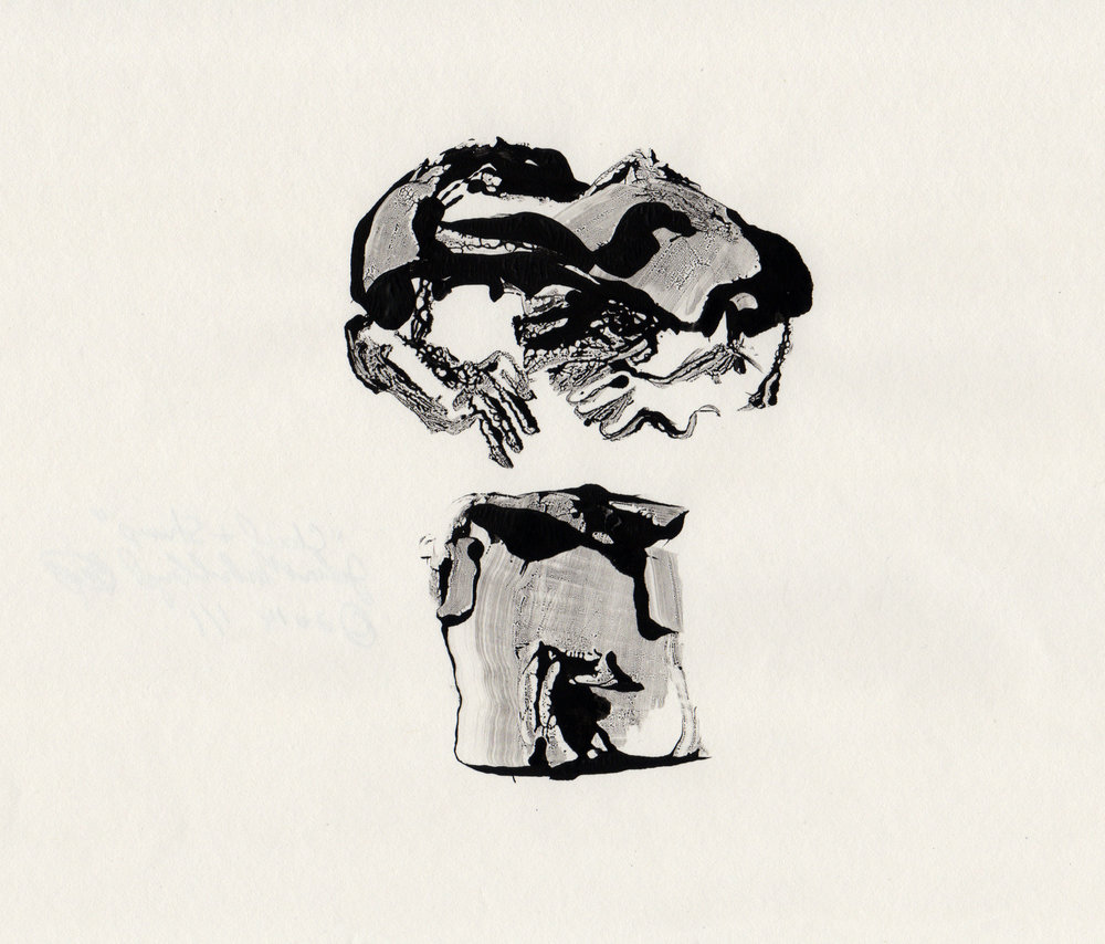 Cloud and Stump, 2014, gelatin monotype, 10x9 inches