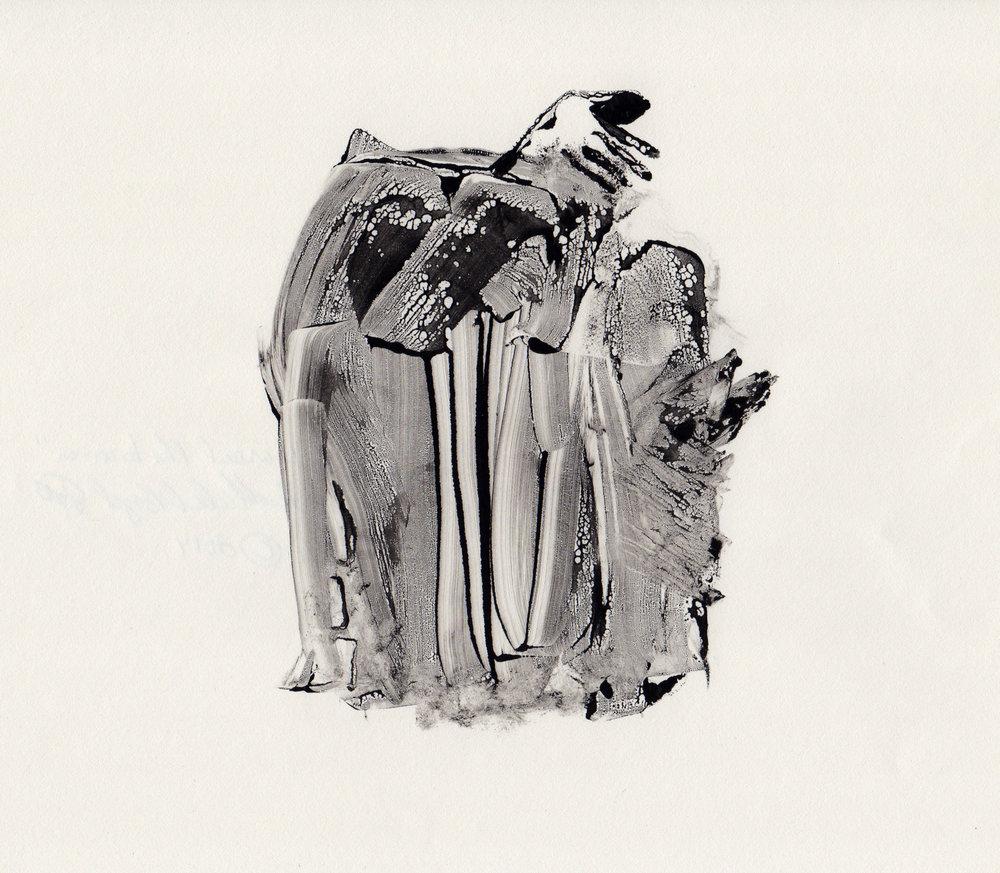 Get Around the Barrier, 2014, gelatin monotype, 10x9 inches