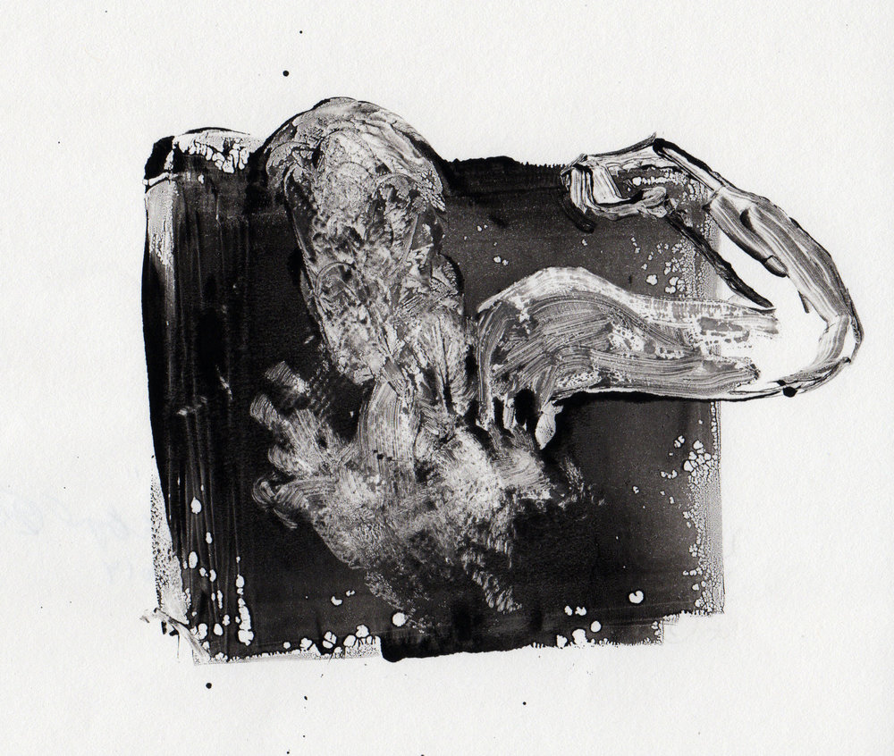 Hook, 2014, gelatin monotype, 10x9 inches
