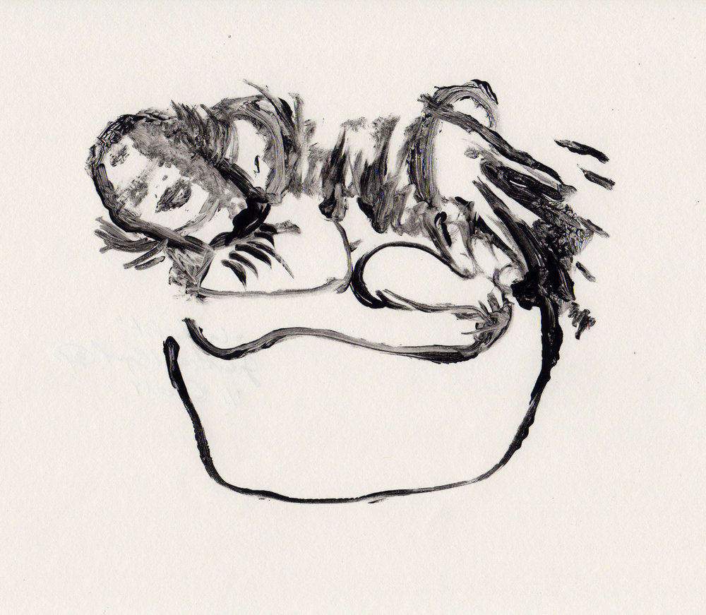 In The Pot, 2014, gelatin monotype, 10x9 inches