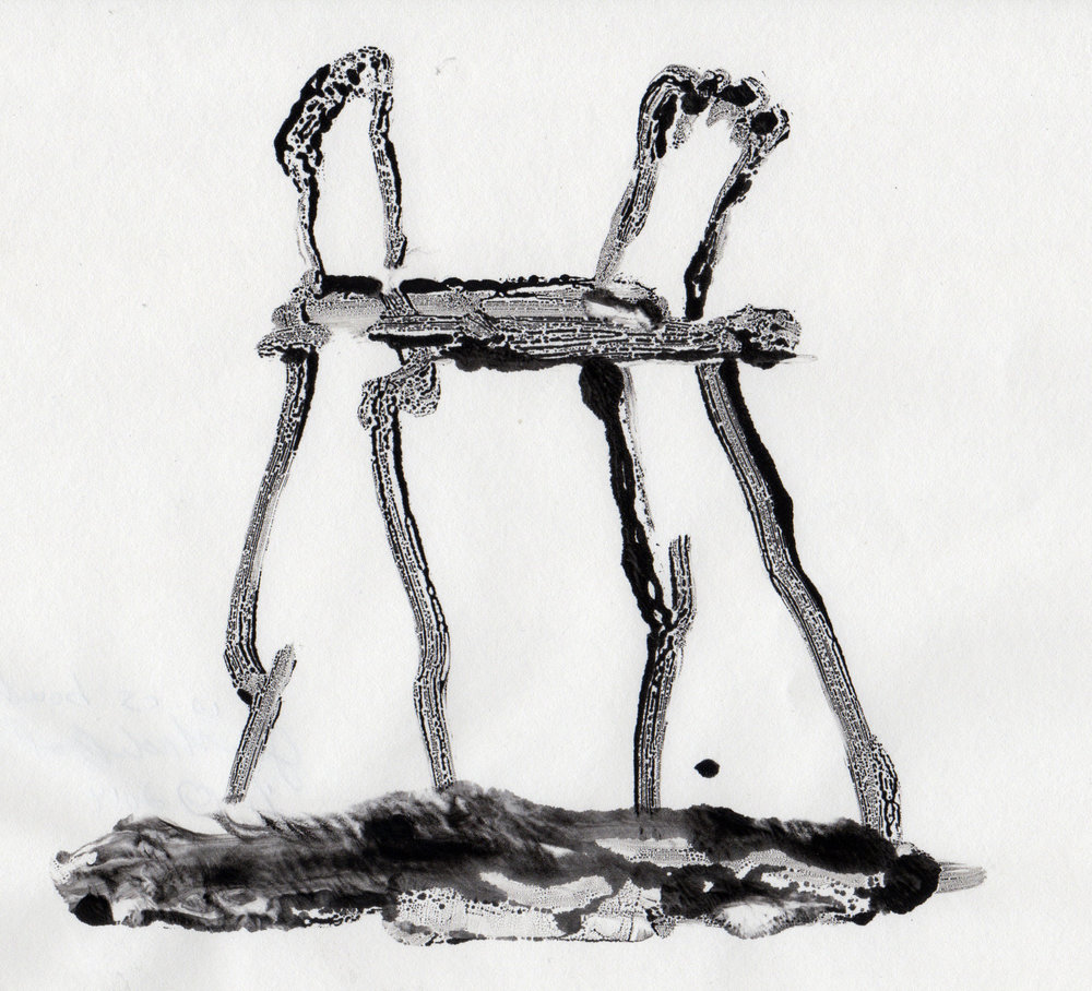 Is As Bound, 2014, gelatin monotype, 10x9 inches