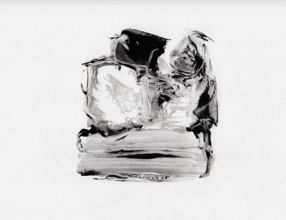 Stacked Stones, 2014, gelatin monotype, 10x9 inches