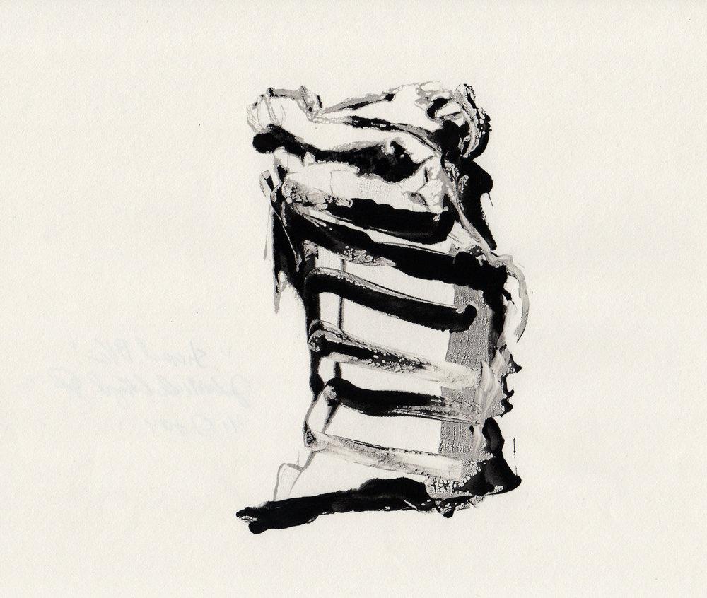 Stripped Pillar, 2014, gelatin monotype, 10x9 inches