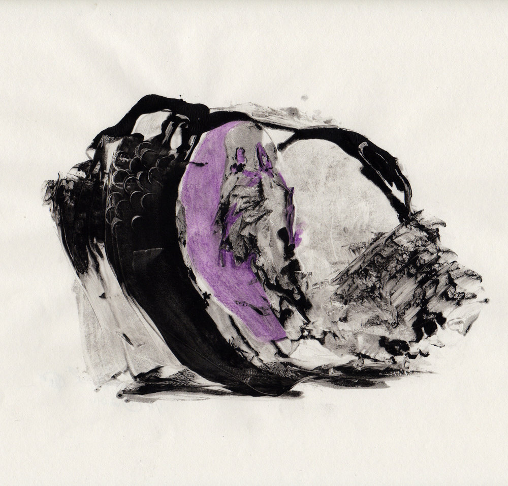 Untitled Purple, 2014, hand colored gelatin monotype, 10x9 inches