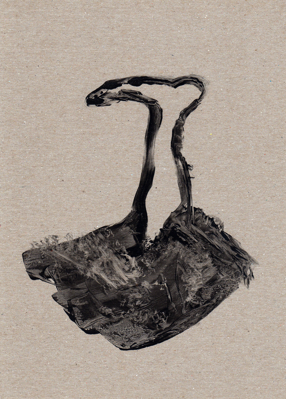 Untitled One Foot Out of the Grave, 2014, gelatin monotype, 11x8 inches