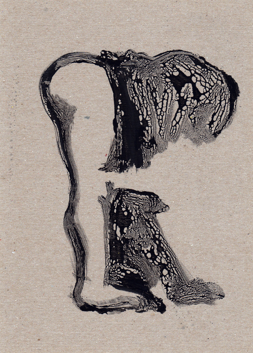 Untitled Revealed, 2014, gelatin monotype, 11x8 inches