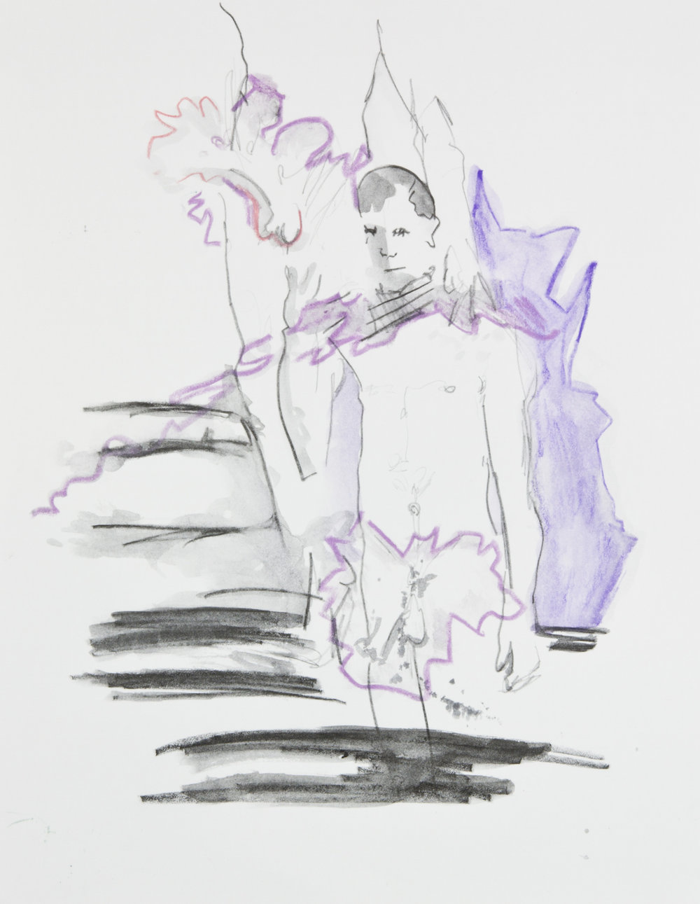Another Ectoplasmic Event, 2013, graphite, crayon and watercolor pencil on paper, 11x14 inches