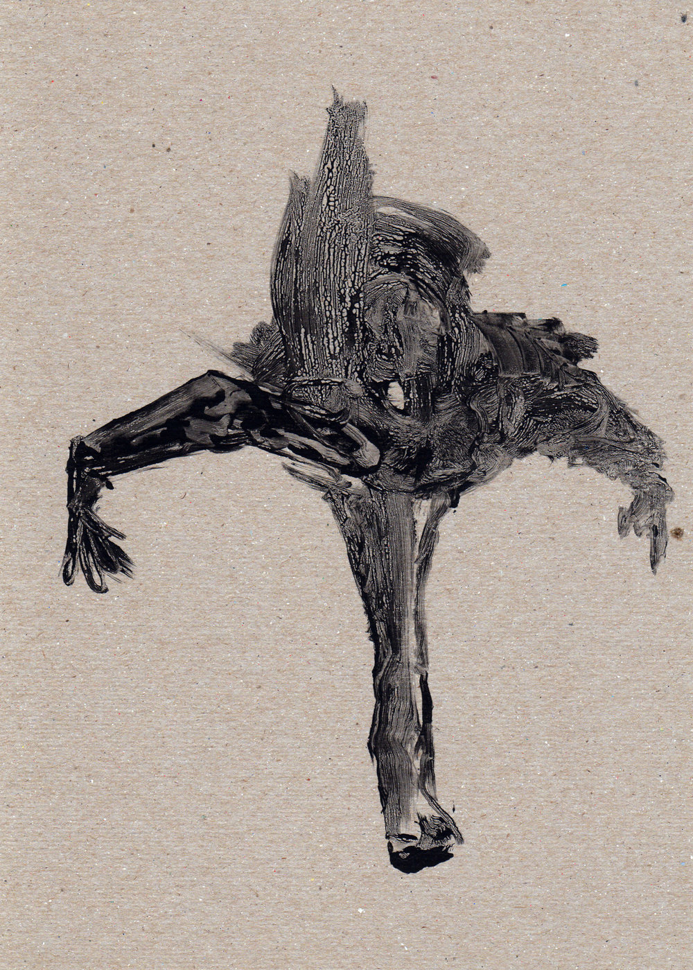 Untitled Skate, 2014, gelatin monotype, 11x8 inches