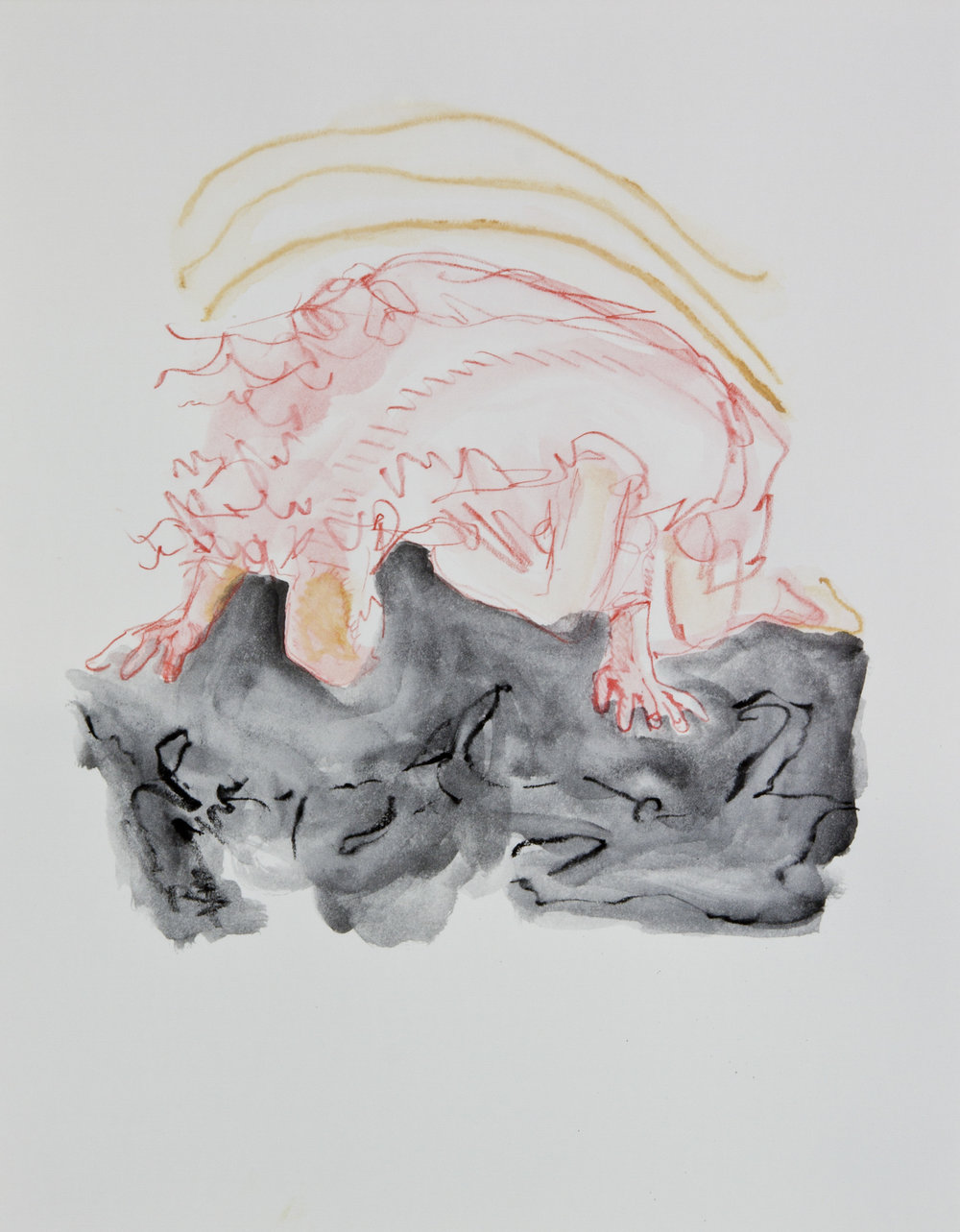 Bowing To The Abyss, 2013, graphite, crayon and watercolor pencil on paper, 11x14 inches
