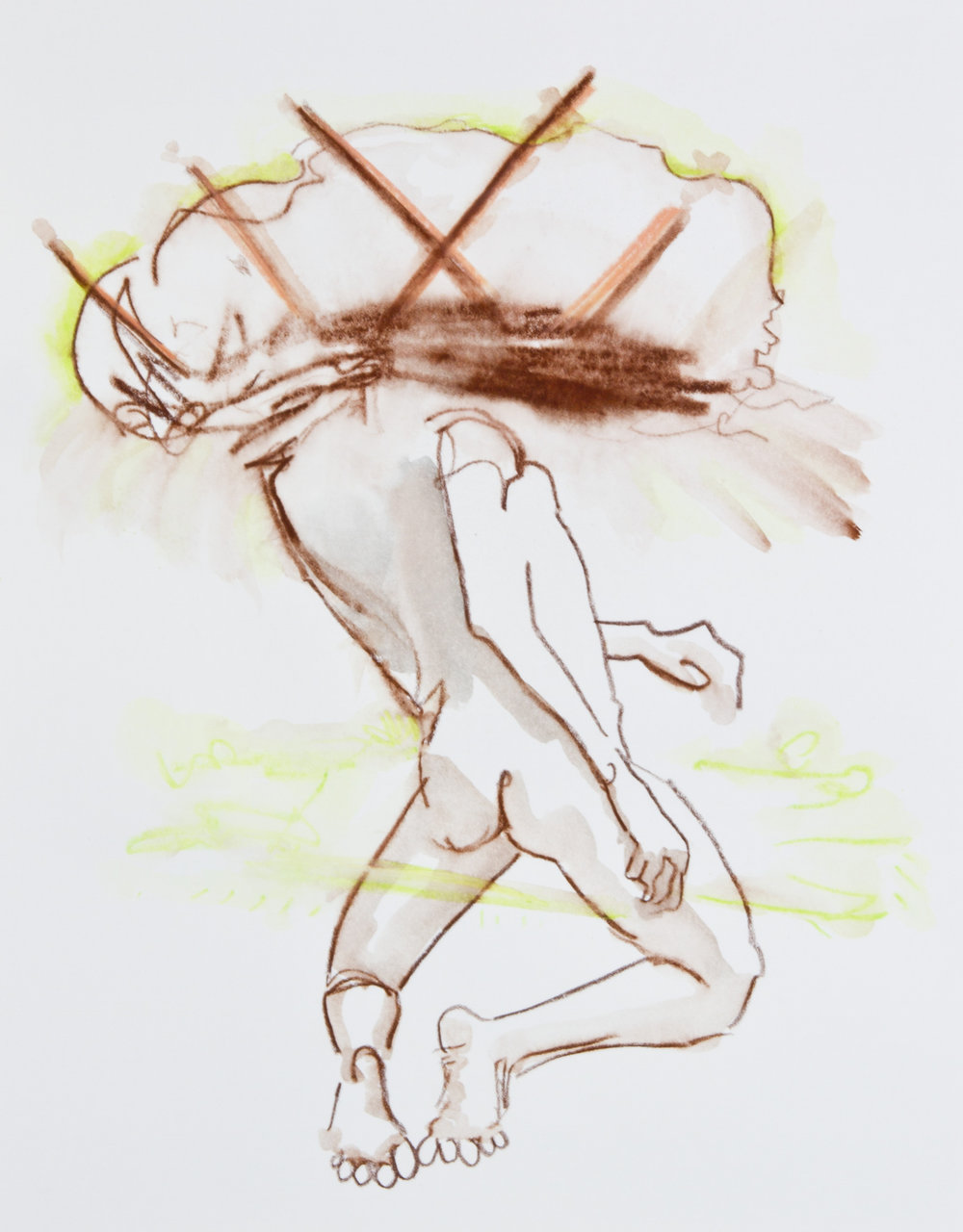 Brown Note, 2013, graphite, crayon and watercolor pencil on paper, 11x14 inches